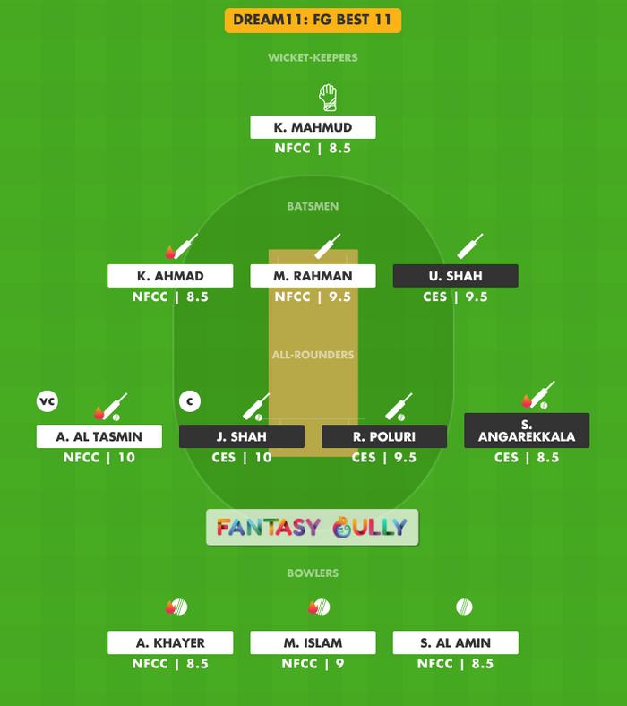 FG Best 11, CES vs NFCC Dream11 Fantasy Team Suggestion