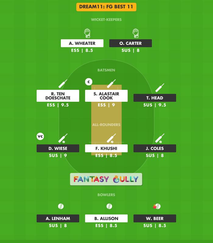FG Best 11, ESS vs SUS Dream11 Fantasy Team Suggestion