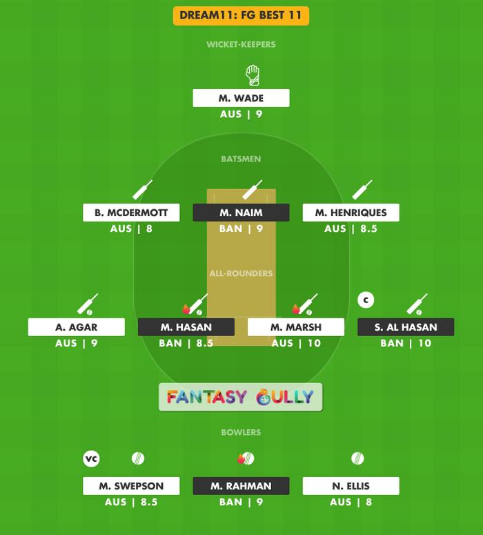 FG Best 11, BAN vs AUS Dream11 Fantasy Team Suggestion