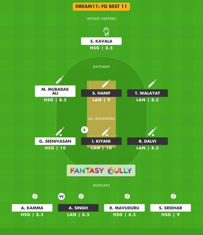 FG Best 11, HSG vs LAN Dream11 Fantasy Team Suggestion