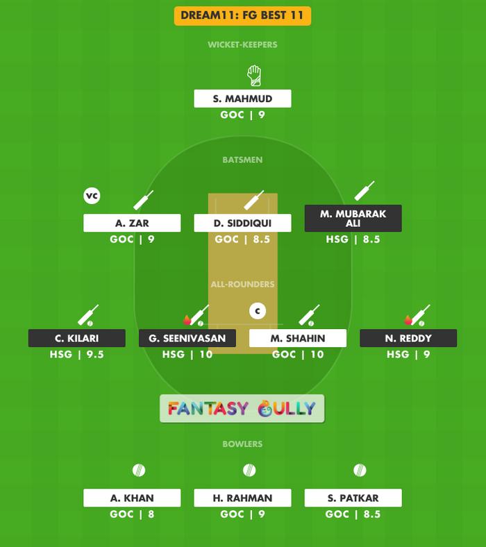 FG Best 11, HSG vs GOC Dream11 Fantasy Team Suggestion