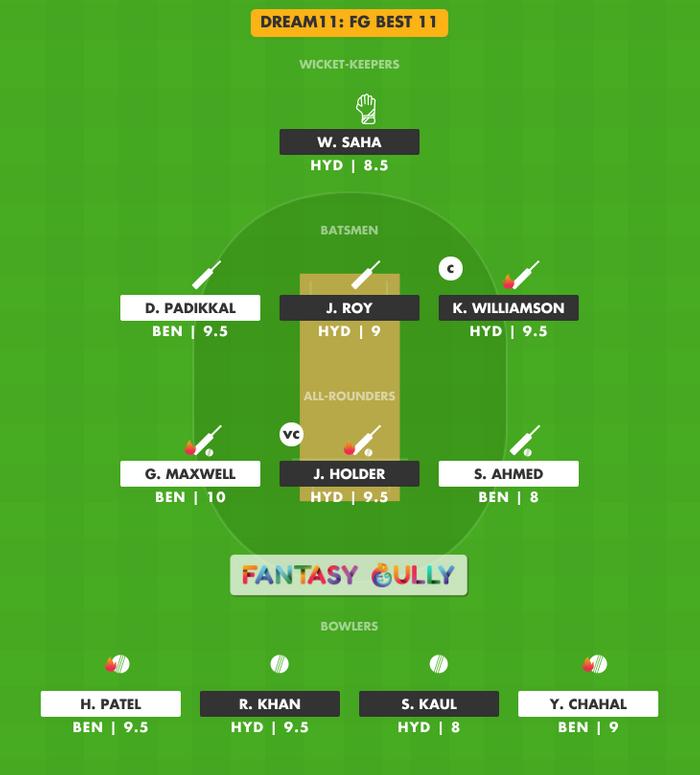 FG Best 11, RCB vs SRH Dream11 Fantasy Team Suggestion