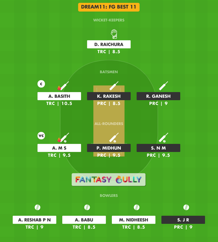 FG Best 11, TRC vs PRC Dream11 Fantasy Team Suggestion