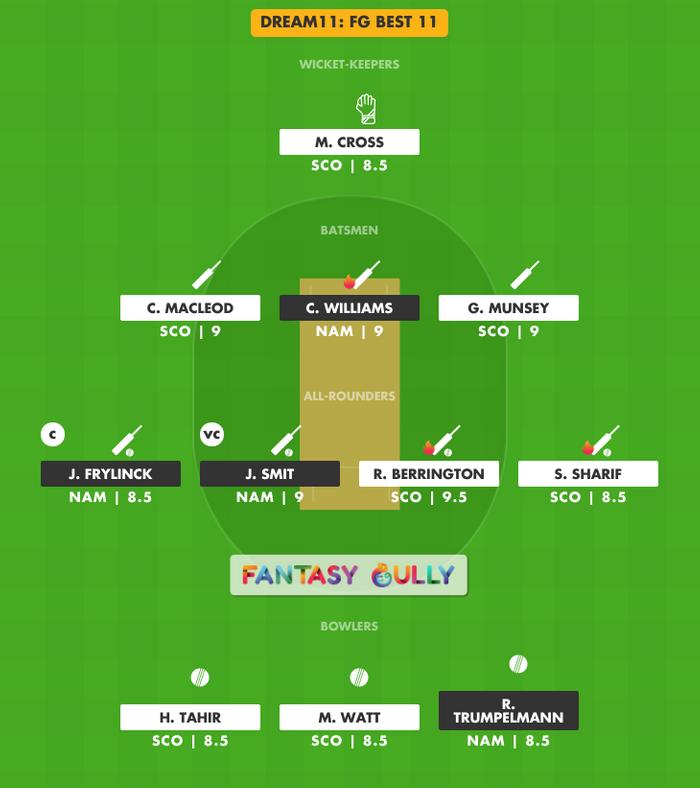 FG Best 11, SCO vs NAM Dream11 Fantasy Team Suggestion