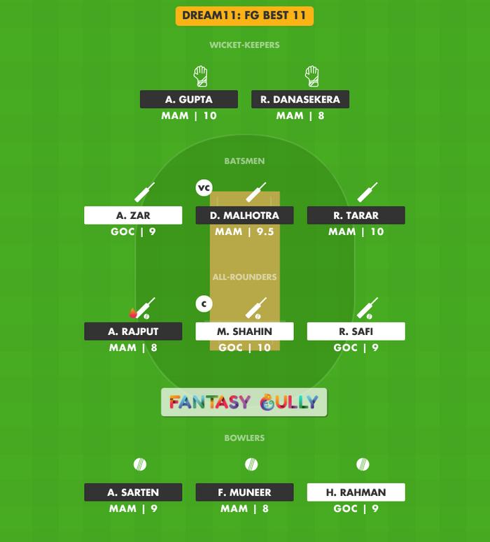 FG Best 11, MAM vs GOC Dream11 Fantasy Team Suggestion