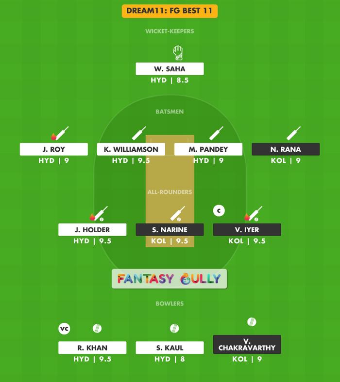 FG Best 11, KKR vs SRH Dream11 Fantasy Team Suggestion