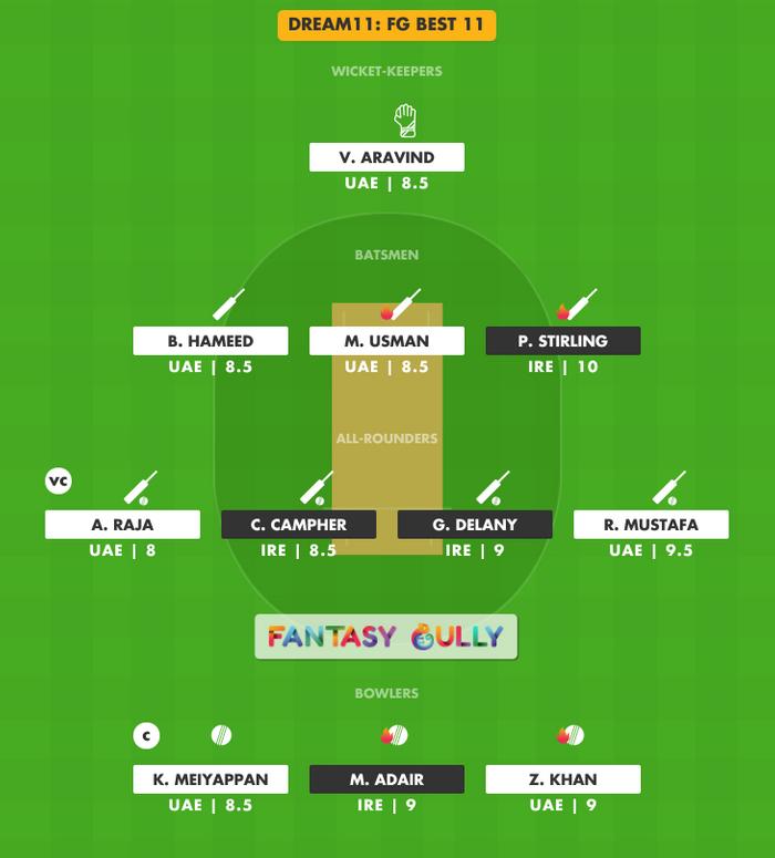 FG Best 11, UAE vs IRE Dream11 Fantasy Team Suggestion