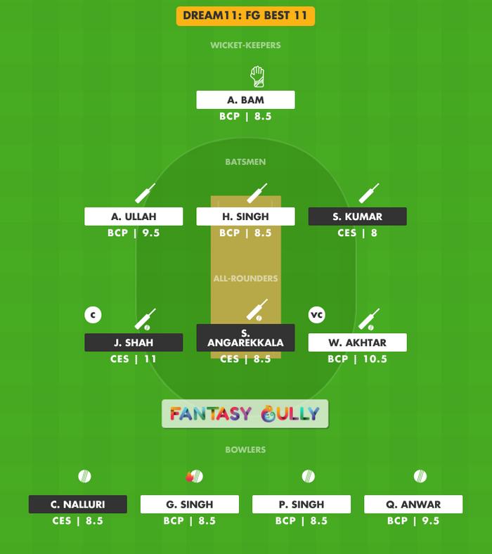 FG Best 11, CES vs BCP Dream11 Fantasy Team Suggestion
