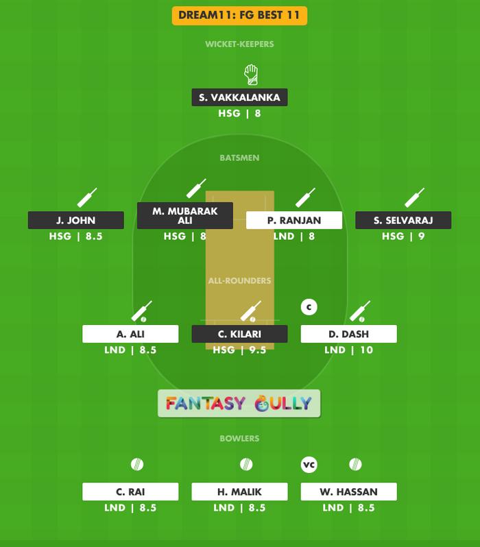 FG Best 11, HSG vs LND Dream11 Fantasy Team Suggestion