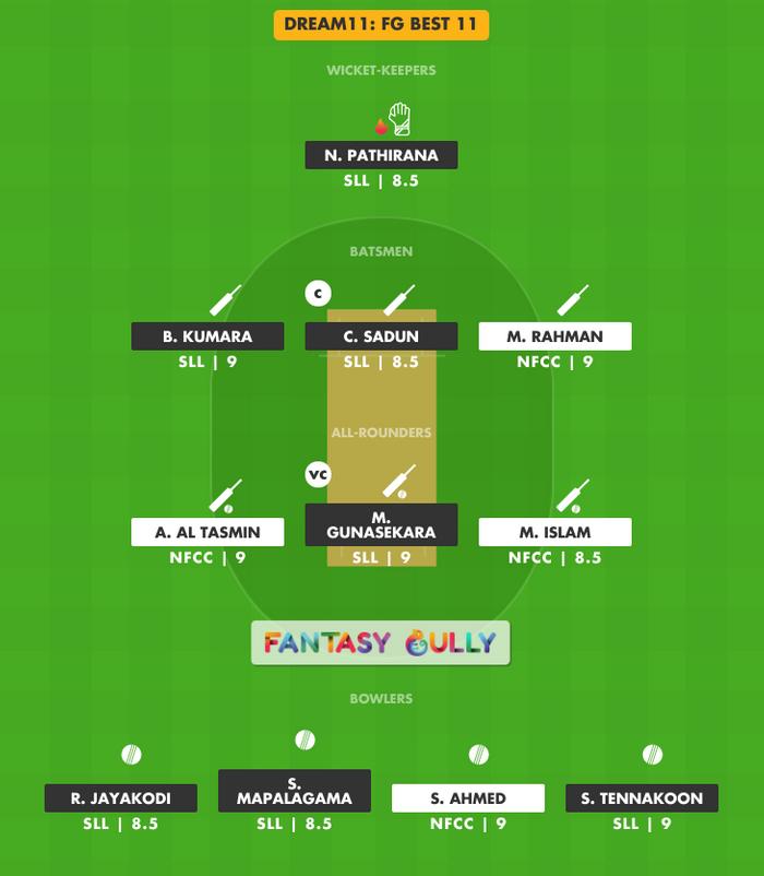 FG Best 11, NFCC vs SLL Dream11 Fantasy Team Suggestion