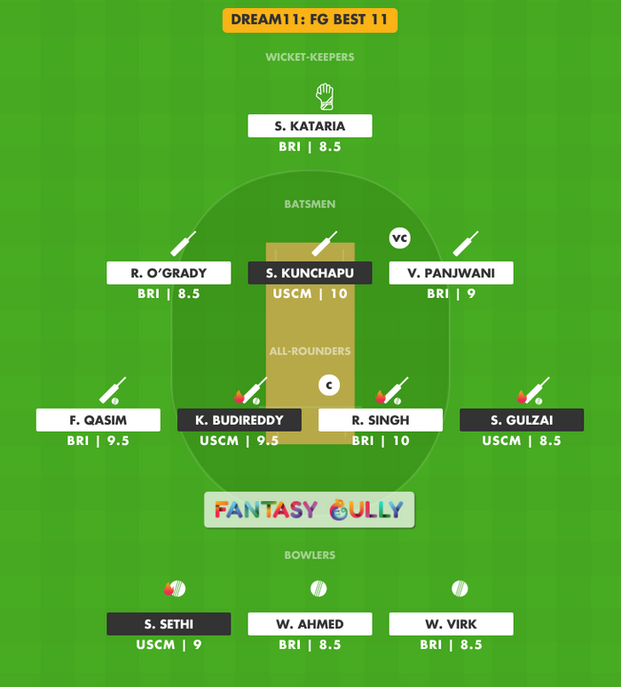FG Best 11, USCM vs BRI Dream11 Fantasy Team Suggestion