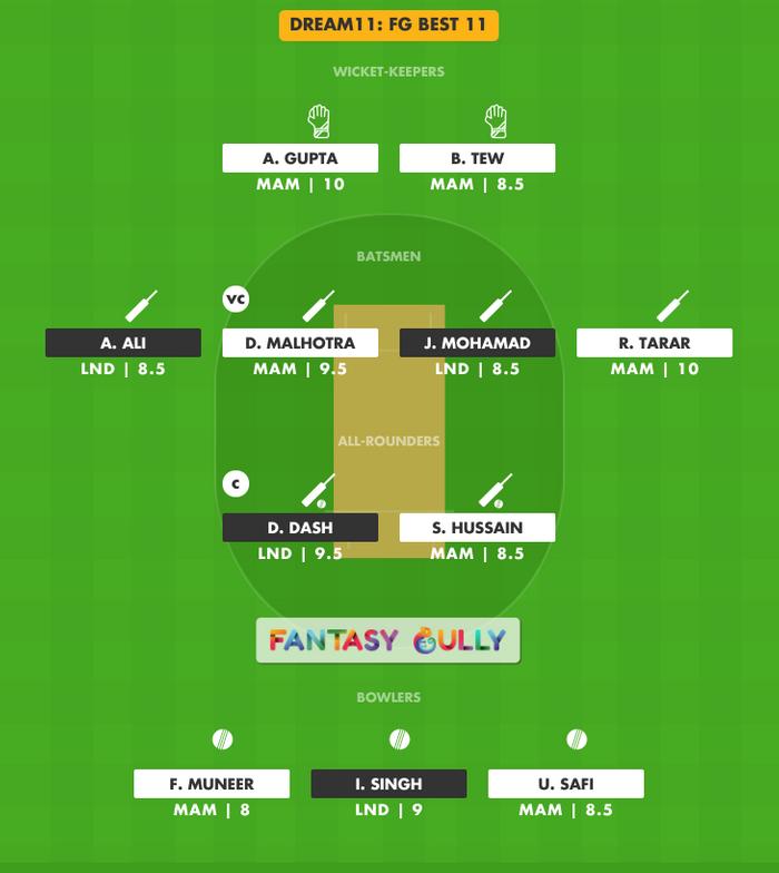 FG Best 11, LND vs MAM Dream11 Fantasy Team Suggestion