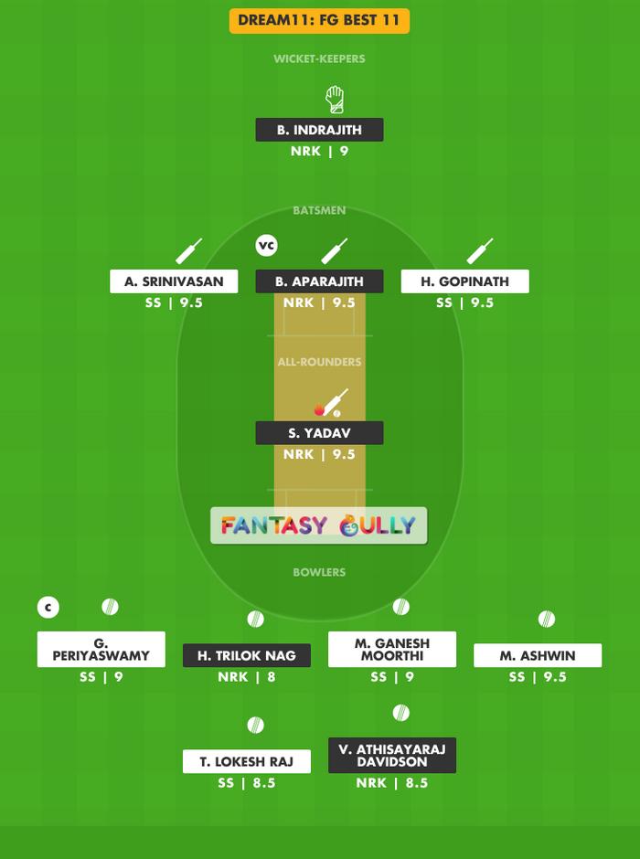FG Best 11, SS vs NRK Dream11 Fantasy Team Suggestion