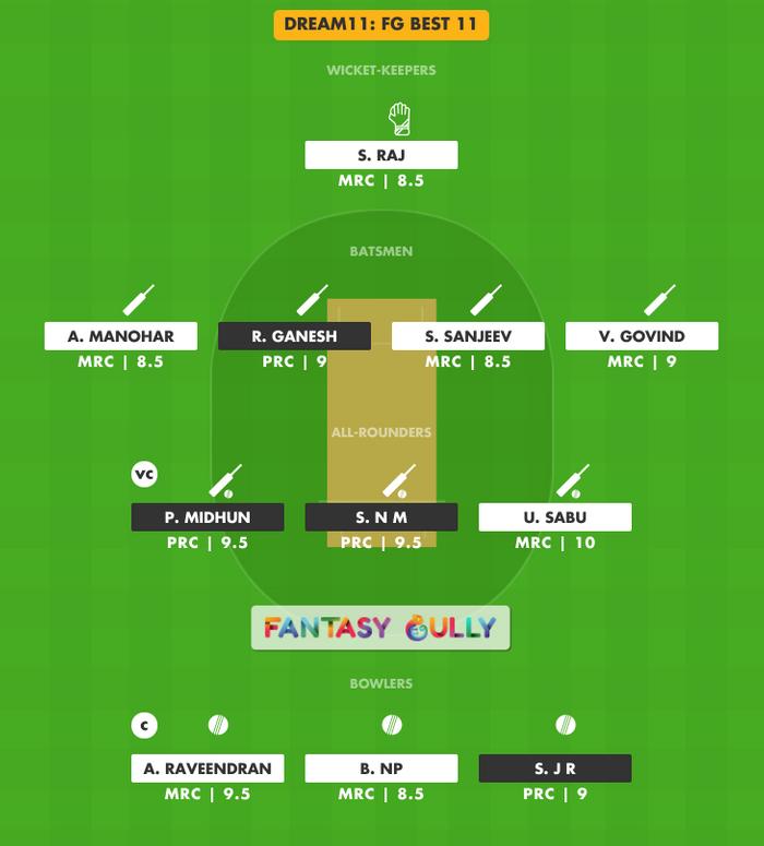 FG Best 11, PRC vs MRC Dream11 Fantasy Team Suggestion