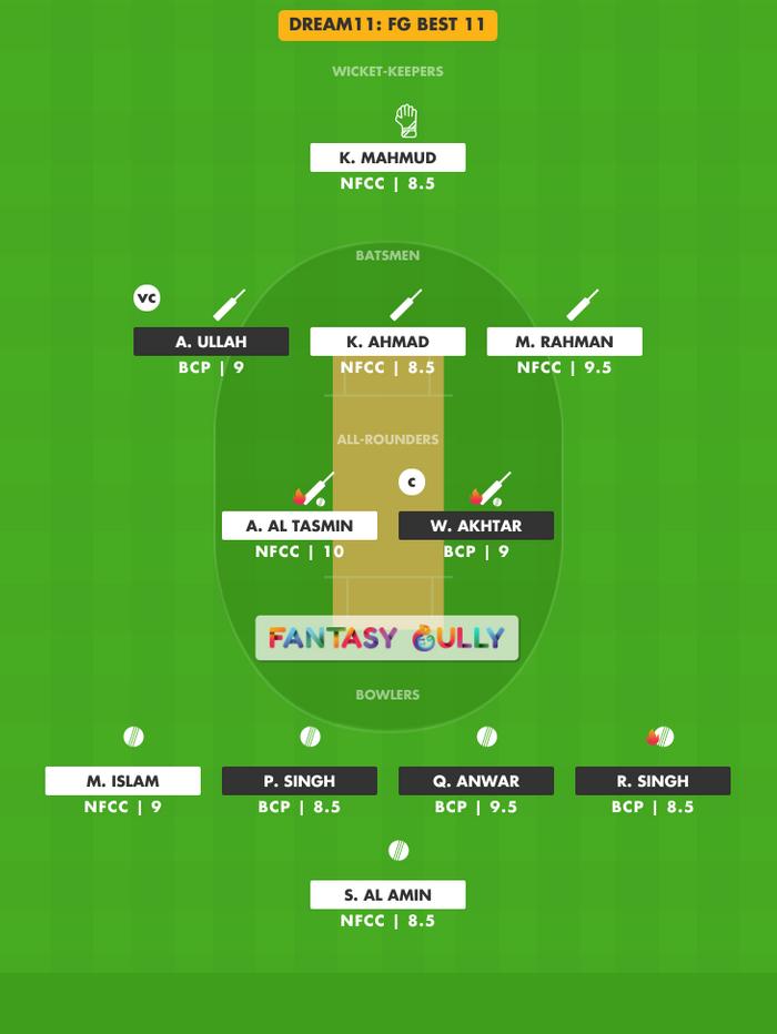 FG Best 11, NFCC vs BCP Dream11 Fantasy Team Suggestion