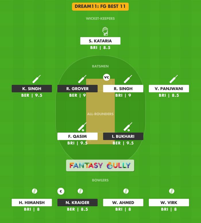 FG Best 11, BER vs BRI Dream11 Fantasy Team Suggestion
