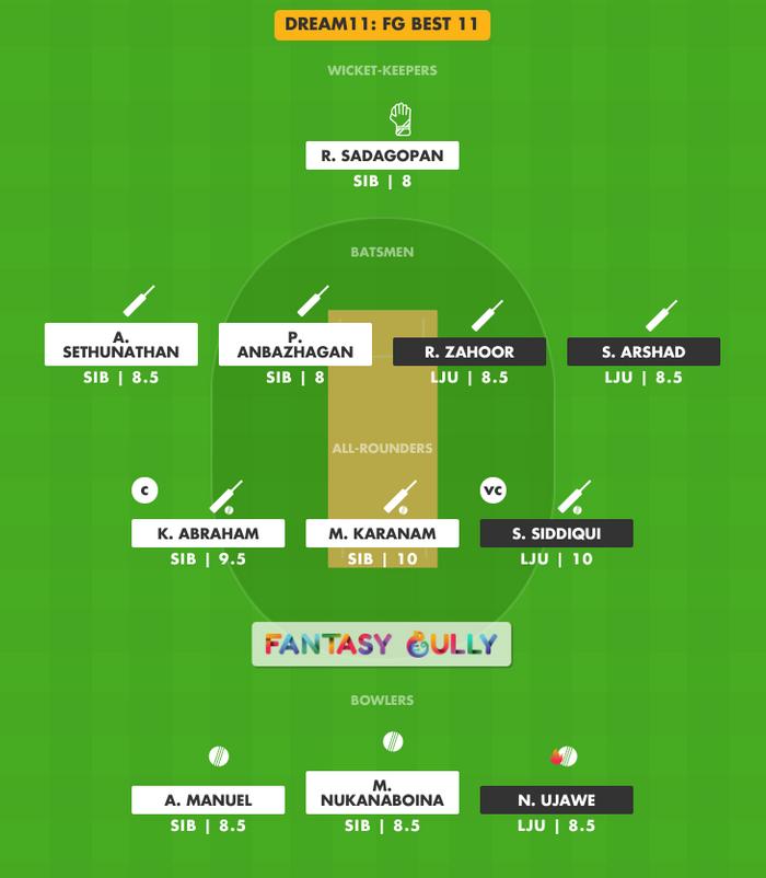 FG Best 11, LJU vs SIB Dream11 Fantasy Team Suggestion