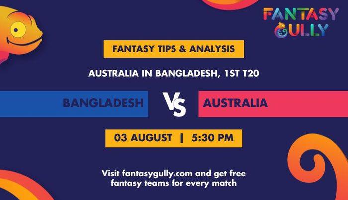 Bangladesh vs Australia, 1st T20I