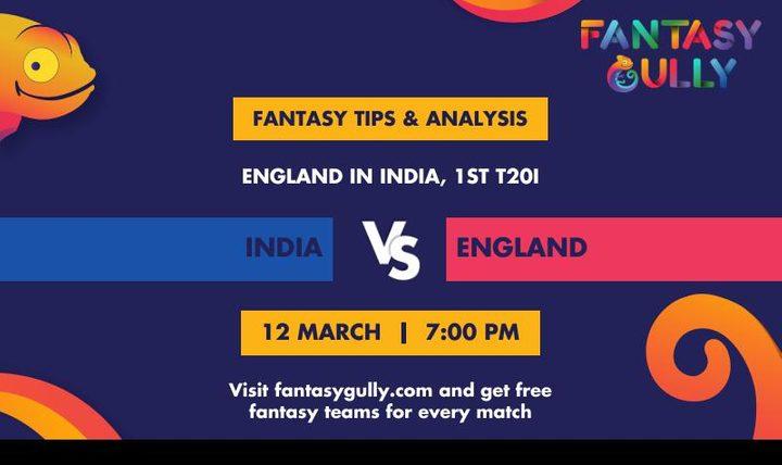 IND vs ENG, 1st T20I