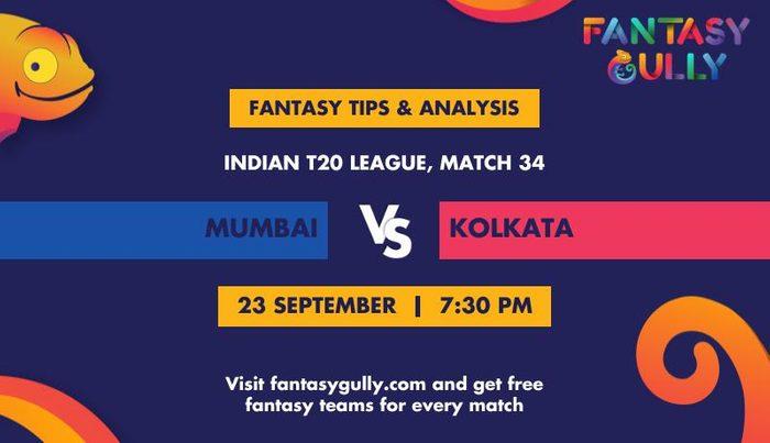 Mumbai Indians vs Kolkata Knight Riders, Match 34