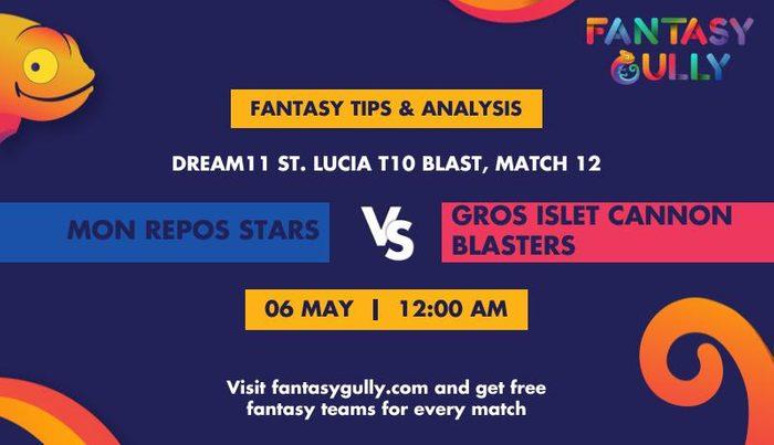 Mon Repos Stars vs Gros Islet Cannon Blasters, Match 12