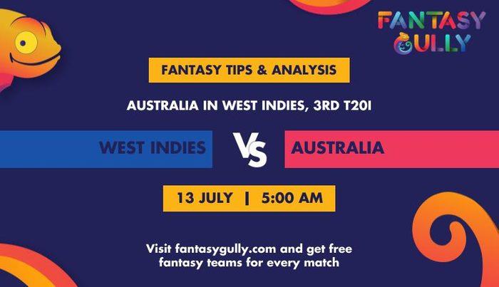 West Indies vs Australia, 3rd T20I