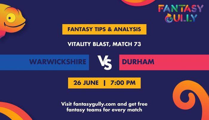 Warwickshire vs Durham, Match 73