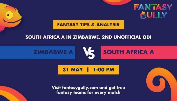 Zimbabwe A vs South Africa A, 2nd unofficial ODI