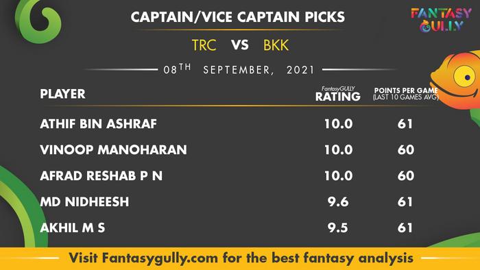 Top Fantasy Predictions for TRC vs BKK: कप्तान और उपकप्तान