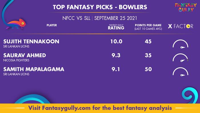 Top Fantasy Predictions for NFCC vs SLL: गेंदबाज