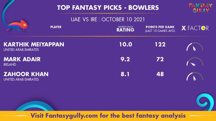 Top Fantasy Predictions for UAE vs IRE: गेंदबाज