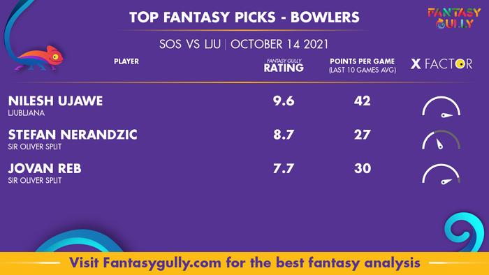 Top Fantasy Predictions for SOS vs LJU: गेंदबाज