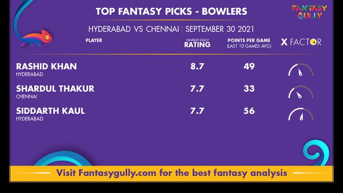 Top Fantasy Predictions for SRH vs CSK: गेंदबाज